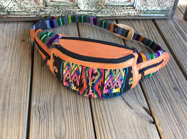 Huipil leather festival fanny pack made using a repurposed backstrap woven Mayan blouse.