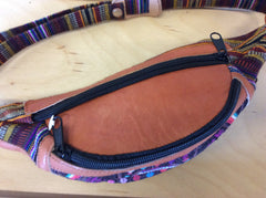 Hand woven and leather fanny pack. Beautiful, hand embroidered fabric combined with leather make this the perfect hands free carry all.