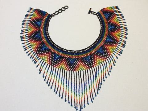 Rainbow of colors! Hand beaded fringed collar necklace.