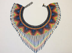 Hand beaded fringed collar necklace.