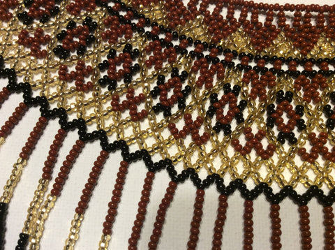 Huichol fringed collar necklace. Hand beaded, using high quality check glass seed beads. Hand strung in Santiago Atitlan .
