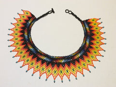 Huichol Bibb style necklace. Hand beaded. Gorgeous style that makes a statement. Classic Huichol color combination.