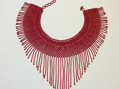 Red seed bead collar necklace