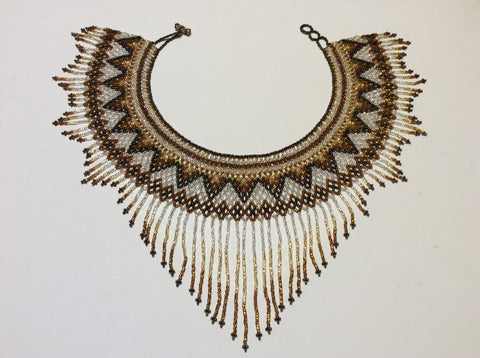 Hand beaded , bronze, gold and silver seed beads fringed collar necklace.