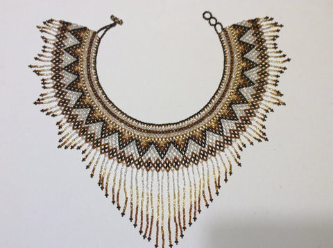Hand beaded , bronze, gold and silver seed beads fringed collar necklace
