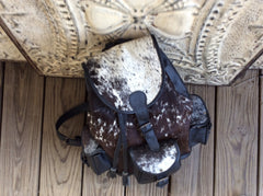 Handmade top grain leather and cowhide backpack
