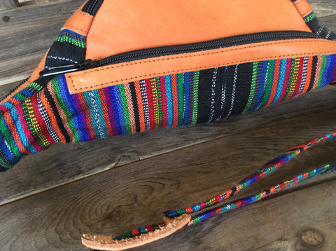 Handwoven, leather fanny pack. Festival pack. Boho, tribal travel pouch.