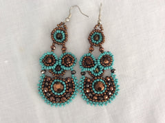Unique hand beaded earrings, made in Santiago Atitlan Guatemala