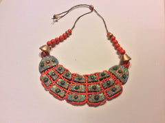 Jade studded porcelain ,hand made, hand painted necklace made in a small village in Guatemala