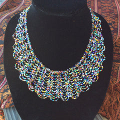 Multi color seed bead lace necklace