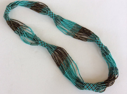 Turquoise and bronze colored glass seed beads hand beaded necklace.