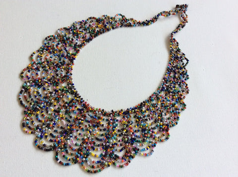 Multi color seed bead lace necklace, made in Santiago Atitlan Guatemala