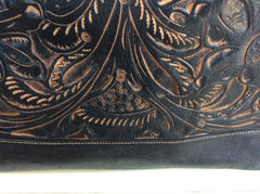 Exquisite hand tooled leather weekender bag, made in Guatemala