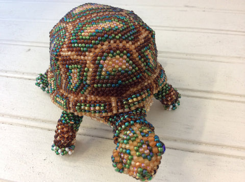 Hand beaded land turtles with beautiful detail, made in Santiago Atitlan Guatemala.