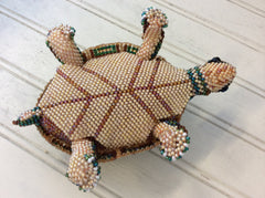 Hand beaded land turtles