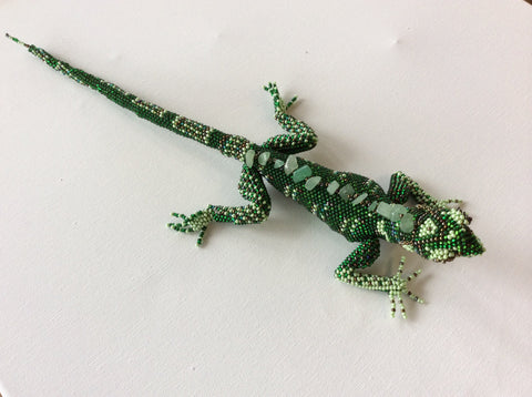 Hand beaded, seed bead lizard