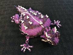 Hand beaded glass seed bead horned frog (TCU colors)