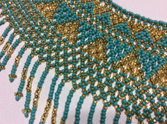 Turquoise and gold glass seed bead fringed necklace