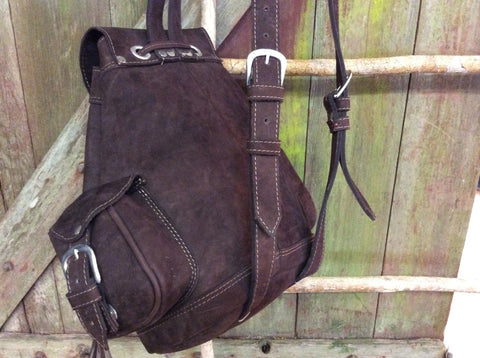 Chocolate brown leather backpack with easy magnetic clasp under buckles