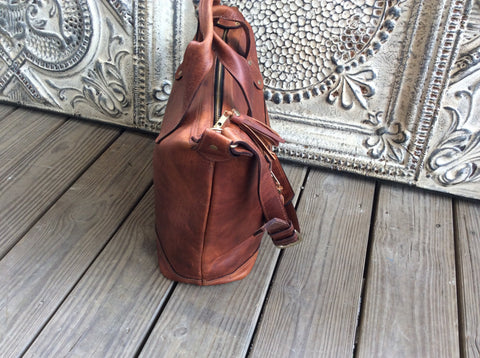 Beautiful top grain leather tote, carry on bag or large purse