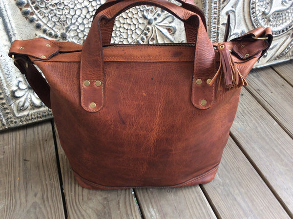Beautiful top grain leather tote, carry on bag or large purse.