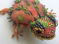 Hand beaded glass bead horned toad