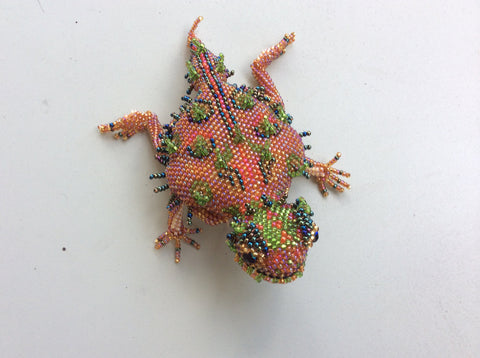 Hand beaded glass bead horned toad, made in Santiago Atitlan Guatemala.