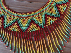 Hand beaded fringed collar necklace