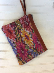 Hand woven and suede leather wristlet bag, made in Guatemala