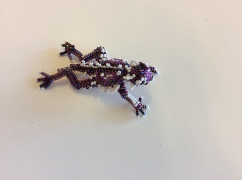 TCU hand beaded small purple and white horned frog pin.