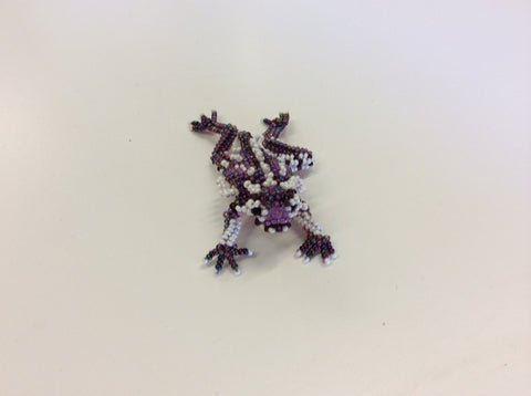 TCU hand beaded small purple and white horned frog pin