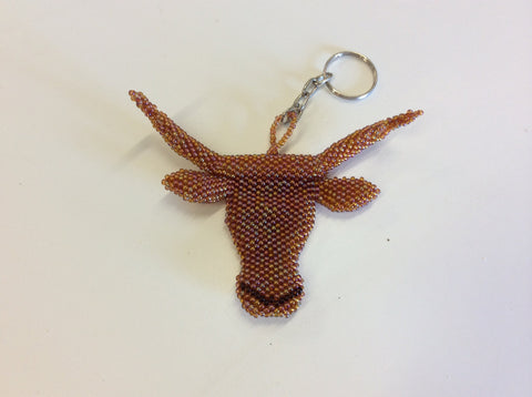 TEXAS LONGHORN key chain. Hand beaded LONGHORN keychain.