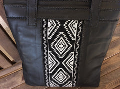 Gorgeous, sophisticated, black leather tote with beautiful hand beaded panel