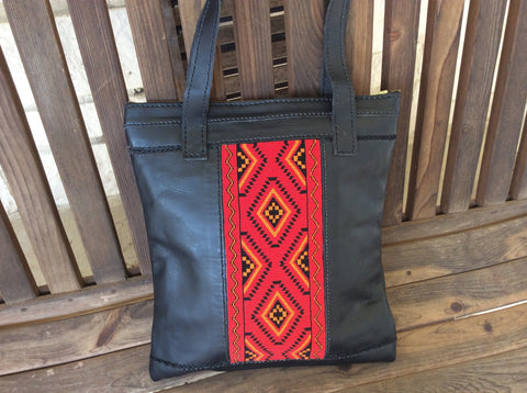 Hand beaded, glass seed bead panel, hand stitched, top grain leather tote bag.