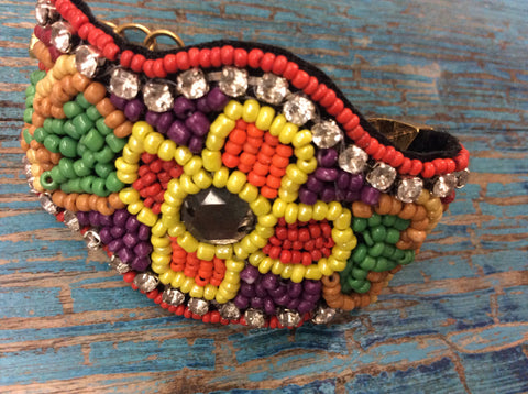 Huichol, hand beaded bracelet. Beautiful color combination with Swarovski crystals. Fun and fashionable.