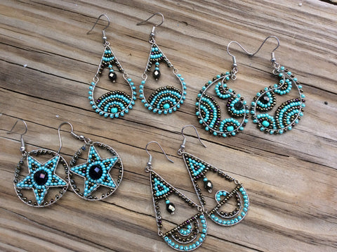 Turquoise and bronze glass seed beads handed beaded earrings.