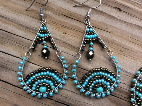 Turquoise and bronze glass seed beads handed beaded earrings