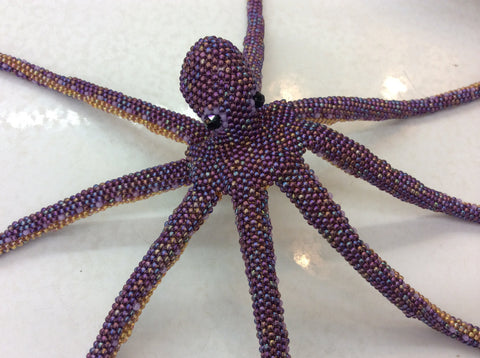 Hand beaded, glass seed bead, OCTOPUS