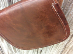 Hand made leather cross body purse hand