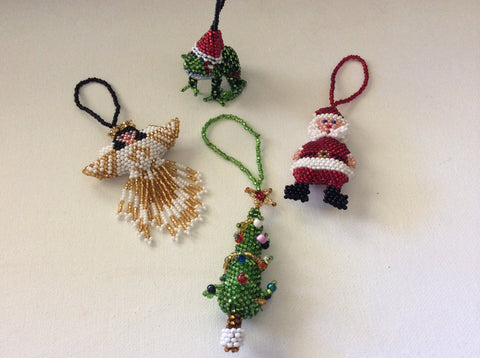 Absolutely adorable hand beaded Christmas tree ornaments set of four ornaments.
