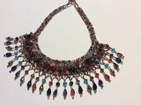Multi color hand beaded, seed bead and crystal necklace. Gorgeous with sparkle and class. Hand strung in Santiago Atitlan.