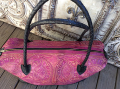 Black and hot pink hand tooled leather X large weekender