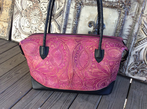 Black and hot pink hand tooled leather X large weekender.