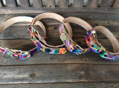 Handmade, top grain leather and handwoven Guatemalan fabric dog collar
