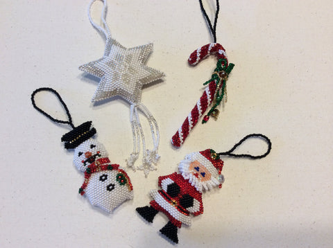 Hand beaded Christmas tree ornaments. Adorable and unique.