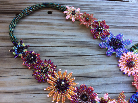 Magnetic clasp, Hand beaded using Czech glass seed beads hand beaded necklace