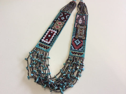 Gorgeous hand beaded necklace. Beautiful southwestern design.