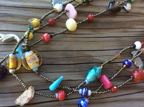 Handmade, hand beaded, Milagros necklace made in Santiago Atitlan Guatemala