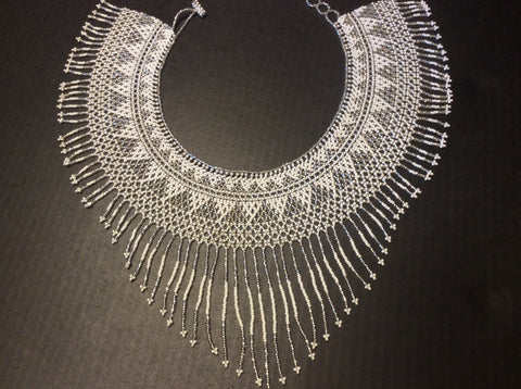 Silver and white beads, hand strung  beaded fringed collar style necklace.