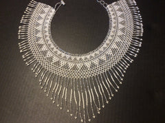 Silver and white beads, hand strung  beaded fringed collar style necklace